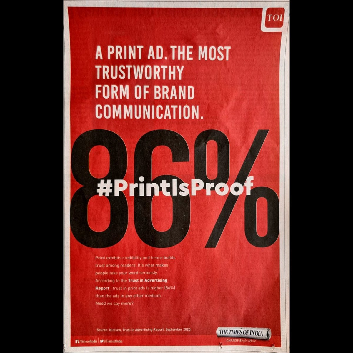 Print ad is the most trusted media and has the highest loyalty among it's consumers. Hence, it is considered to be the best form of communication for Brands.  #PrintAdvertising #PrintAd #Advertising #Marketing #TOI #MaheshAdvertisngAndDesigning