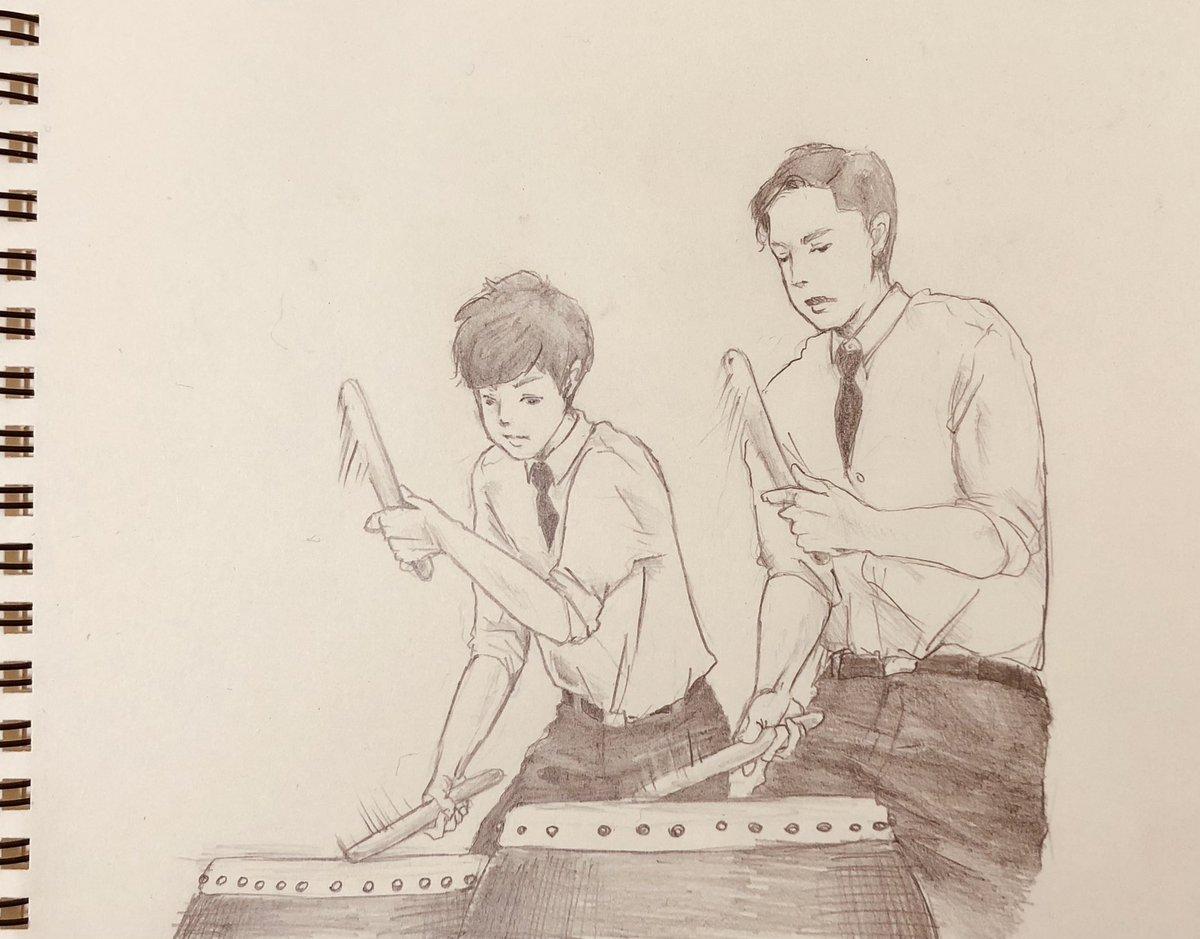 Warくんの太鼓演奏好きすぎて描いたやつ。  映像の方が何億倍も素敵なので見かけた方は是非見て!