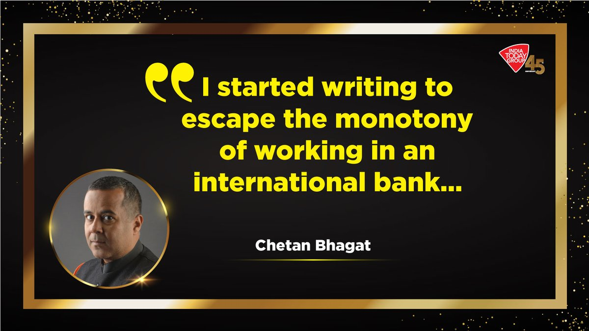 Click  to know how monotony inspired @chetan_bhagat to become one of the best-selling authors in recent times.  Latest India Today issue explores such achievers who will inspire you.  #IndiaTodayGroupAt45 #MagazinePromo