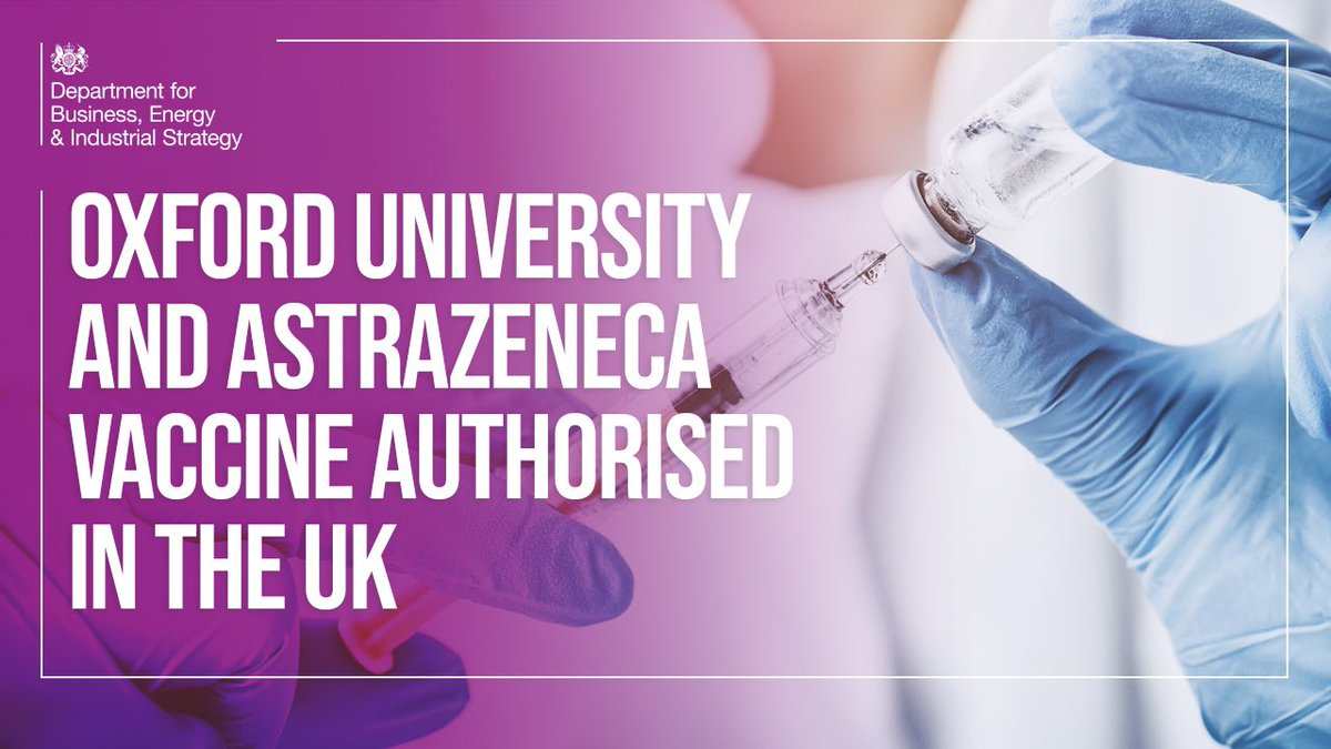 NEW: the @UniOfOxford & @AstraZeneca vaccine has been authorised in the UK!  From our researchers and manufacturers, to the thousands of trial volunteers and NHS staff who'll administer this life-saving vaccine - your country owes you an enormous debt of gratitude https://t.co/4zCs3XHH4j