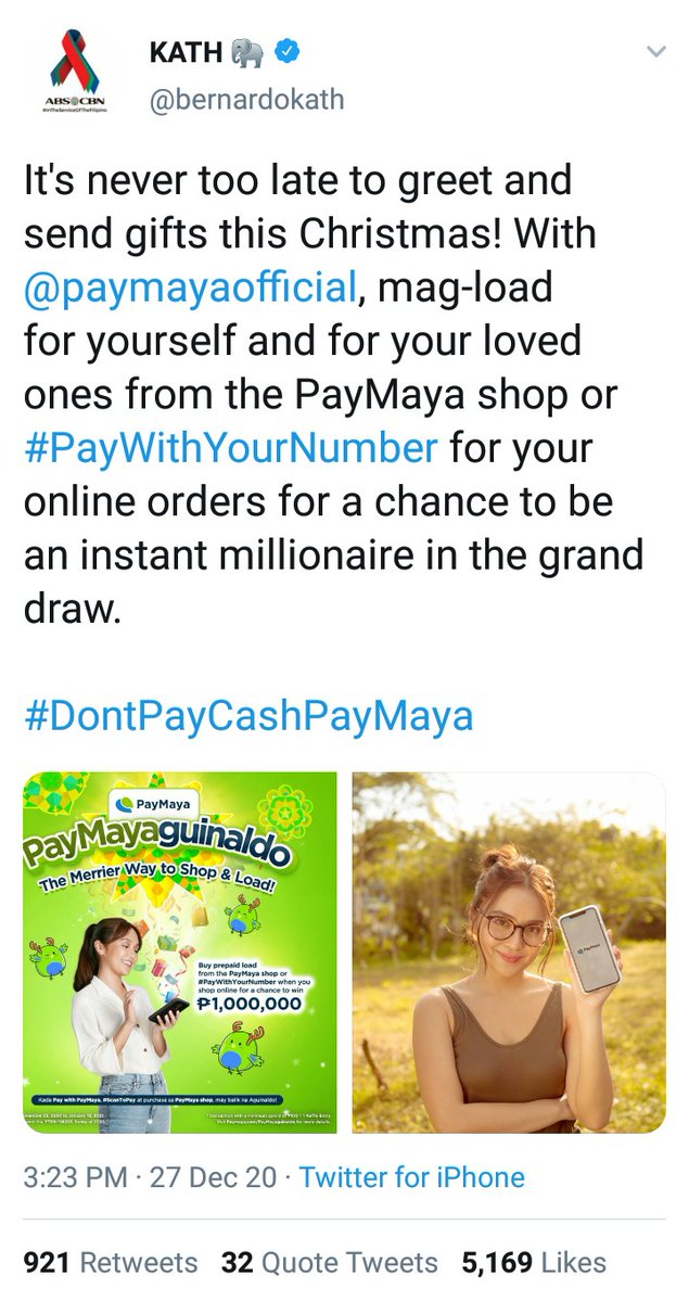 December 27, 2020 ✨ @bernardokath   It's never too late to greet and send gifts this Christmas! With @paymayaofficial, mag-load for yourself and for your loved ones from the PayMaya shop or #PayWithYourNumberfor your online orders...   #KathrynBernardo