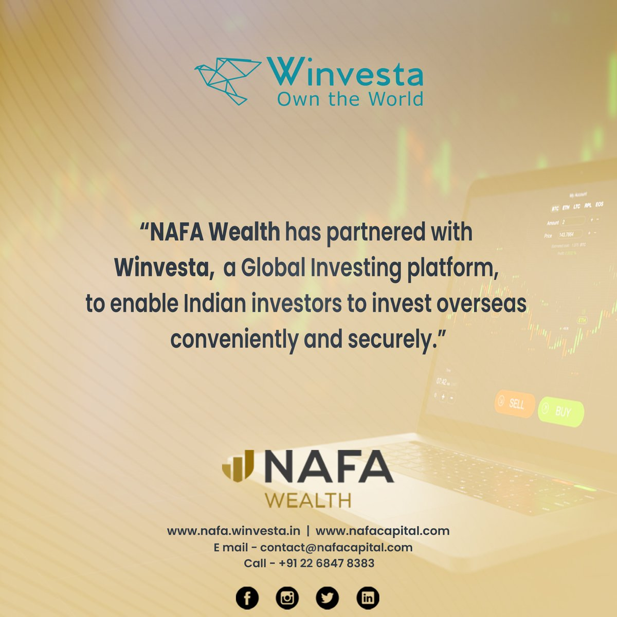 Glad to announce our partnership with @Winvesta  @ameyaprabhu    #wealthmanagment #wealthbuilding #portfoliomanagement #investments #globalinvestment https://t.co/Sfg9zL4Ejn