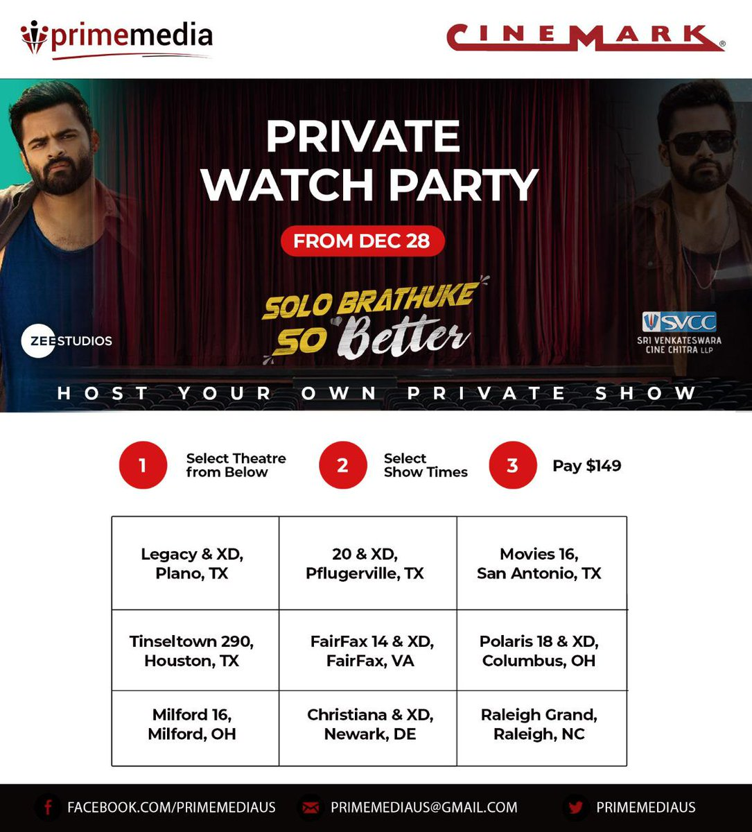 Namaskaram USA, now get a chance to host your own party of Solo Brathuke So Better at #Cinemark Theatres. Follow the steps shown in the image or contact your nearest #Cinemark Theatre or #Primemedia for more information, #SoloBrathukeSoBetter Running successfully in cinemas😃🎄✨