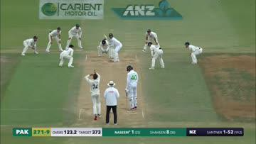 Part of me wishes he had just kept running and gone all the way to the dressing rooms, arms out like a plane, but I still rate the celebration.   Good to see Santner with a moment to savour in the Test arena, well deserved.   #NZvWI