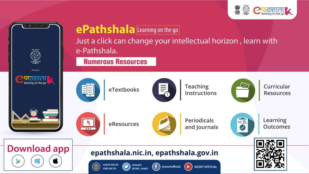 #StayHome #StaySafe #LearningNeverStops in #COVID19Pandemic so continue your learning with ePathshala at your home whenever you want. Access digital Textbooks on your mobile phone / TAB / Computer / Laptop by downloading the #ePathshala Application.