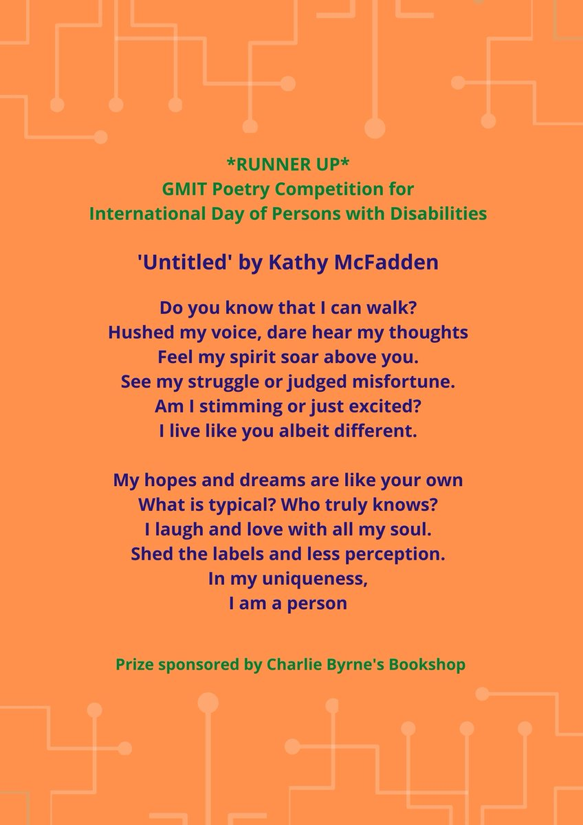 Here is the runner up poem from Kathy McFadden from our poetry competition marking #idpwd2020. We had such a high standard of poems in this competition we look forward to more such competitions in 2021.  @GMITOfficial @GMITHealthy @GMITMayoCampus @poetryireland @GMITLetterfrack