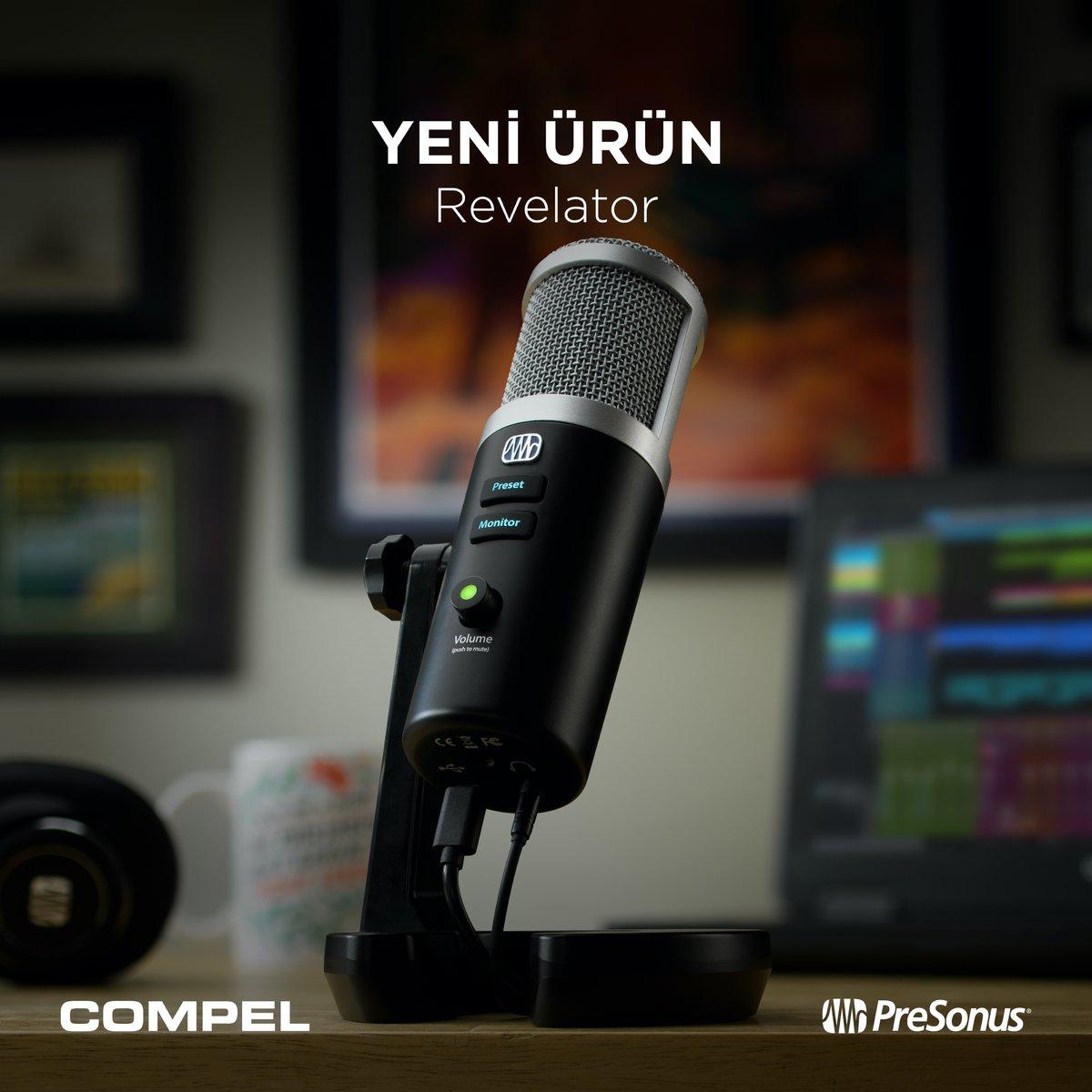 🆕 Canlı yayın, vlog, podcast ya da ev stüdyosunda seslendirme kayıtları için basit bir çözüm arayanların kolaylıkla profesyonel sonuçlar almasını sağlayacak USB mikrofon @PreSonus Revelator stoklarımızda 😊 Detaylı bilgi için 👉  🔗 #Compel #PreSonus