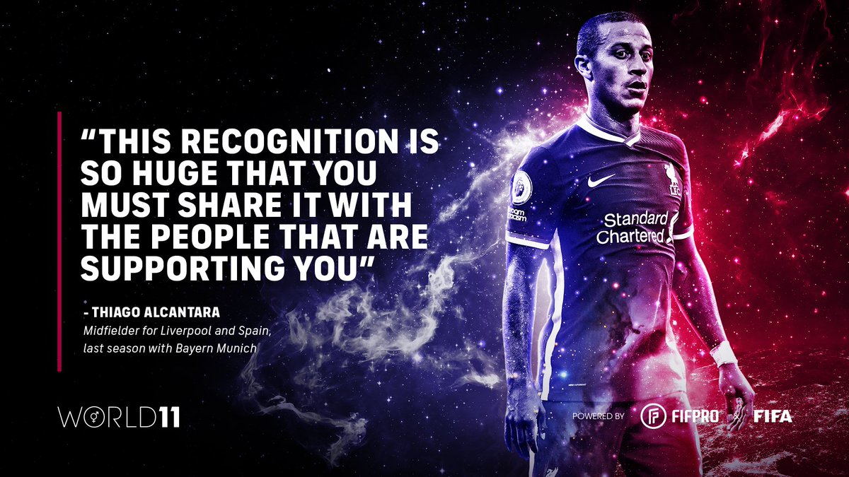 """""""This recognition is so huge that you must share it with the people that are supporting you"""" – @Thiago6 on winning his first World 11 award 🏆👏 @LFC @afefutbol   Find out what it means to win a #World11 award ⬇️"""
