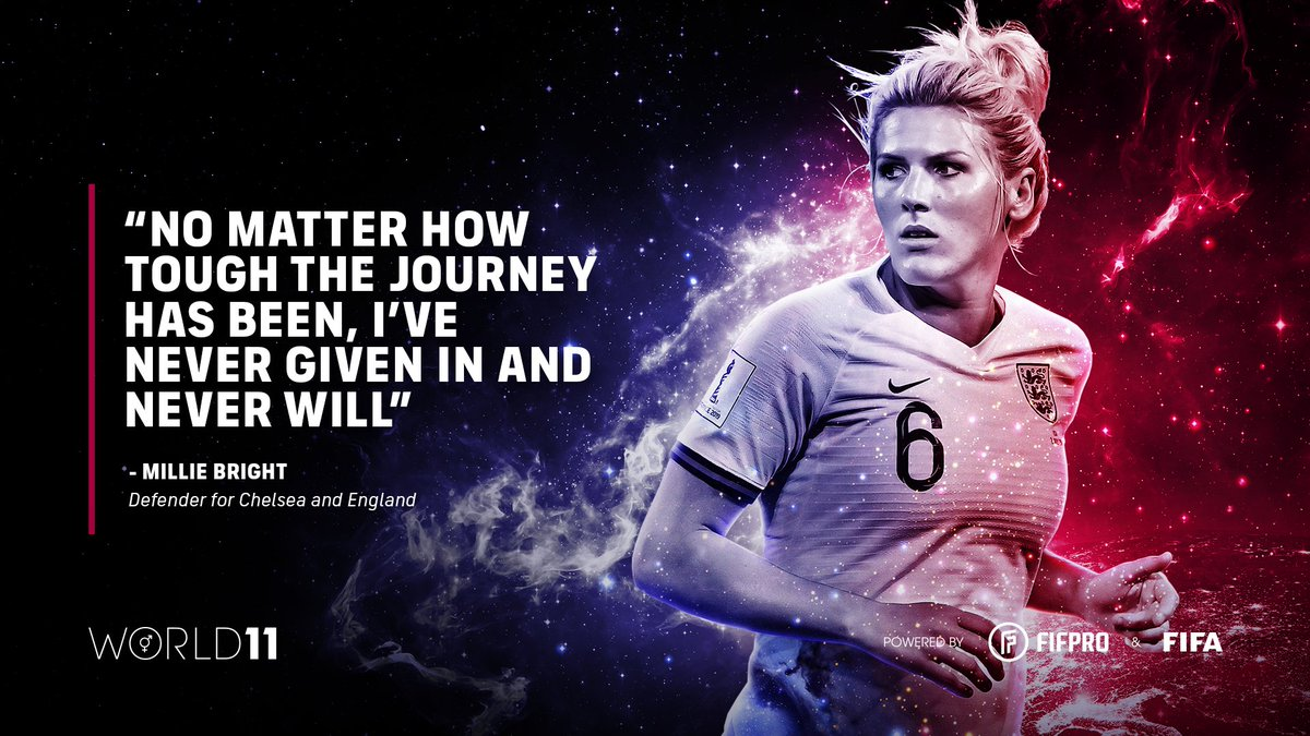 """""""No matter how tough the journey has been, I've never given in and never will"""" – Millie Bright on winning her first World 11 award 🏆👏 @ChelseaFCW @PFA   Find out what it means to win a #World11 award ⬇️"""