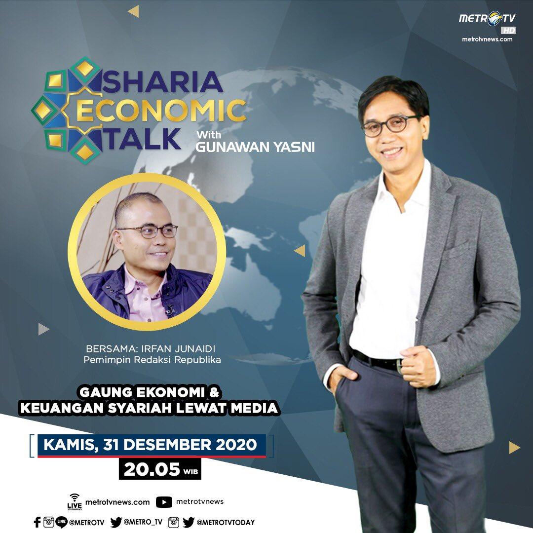 #ShariaEconomicTalkMetroTV hari Kamis (31/12) pukul 20.05 WIB akan membahas seperti apa peran media dalam perkembangan ekonomi syariah Indonesia, bersama Irfan Junaidi selaku Pemimpin Redaksi Republika.