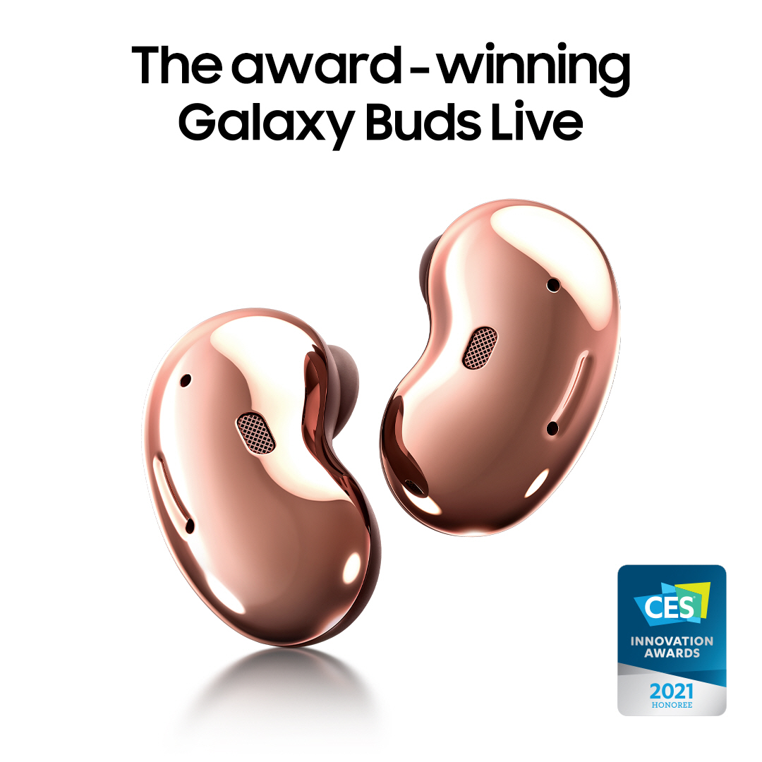 #GalaxyBudsLive have been named as an Honoree in the CES 2021 Innovation Awards! Meet the iconic earbuds with an all-day comfort fit. Learn more: