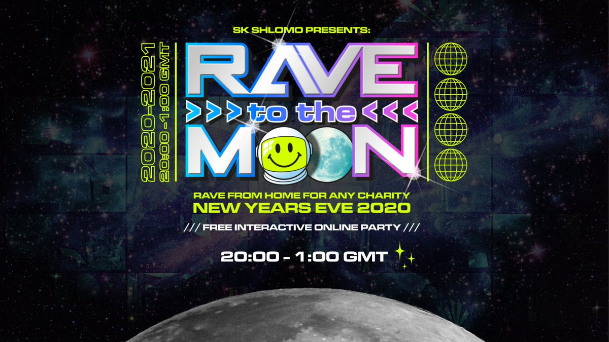Our friend @SKShlomo is hosting a free NYE party! Following a brilliant online performance for #RAHome, @SKShlomo has invited the likes of @thenitinsawhney and actual NASA astronaut @Astro_Nicole to #RaveToTheMoon 👉