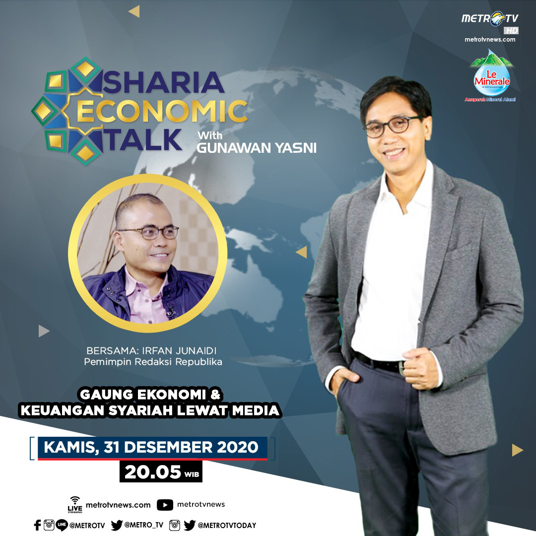 #ShariaEconomicTalkMetroTV hari ini pukul 20.05 WIB akan membahas seperti apa peran media dalam perkembangan ekonomi syariah Indonesia, bersama Irfan Junaidi selaku Pemimpin Redaksi Republika, hanya di @metro_tv.  #MedcomAd