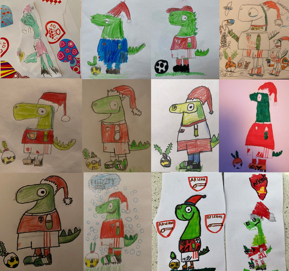 Make sure your JG checks out our exclusive episode of #DrawWithRob and share a photo of their festive @Gunnersaurus drawings now 🦖  🧑‍🎨