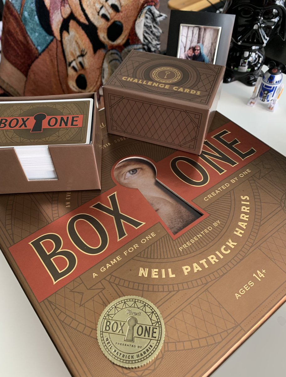 I received the game #BoxOne for Christmas...it was created by @ActuallyNPH and is awesome! I had told @sunnyAC I was going to play it slow but once I started I couldn't stop!! It was so much fun!! If you like trivia and puzzles - you will love this game!!