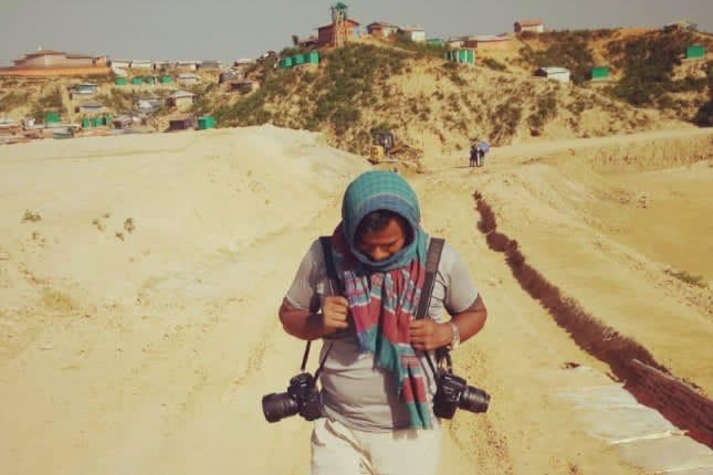 Picture of Abul Kalam, Rohingya photographer. He was arrested on 28th December 2020 for taking photographs of buses leaving for Bhasan Char.