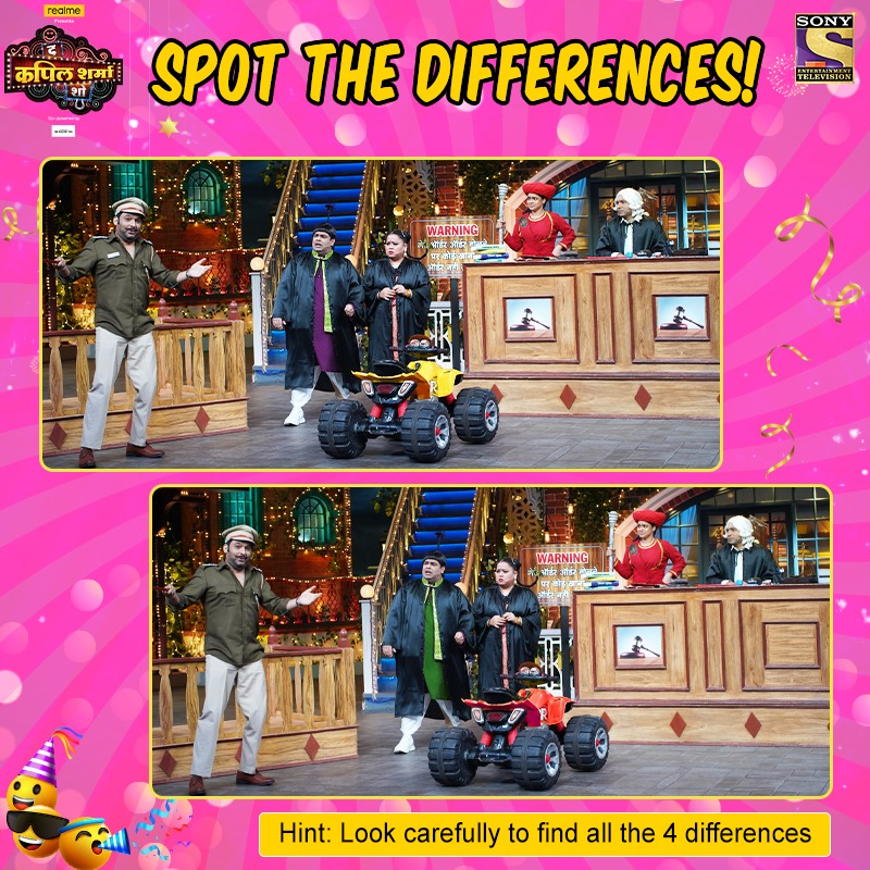 If you get all the 4 differences, you are a true #TheKapilSharmaShow fan. Do watch #TheKapilSharmaShow tonight at 9.30 pm only on Sony TV.