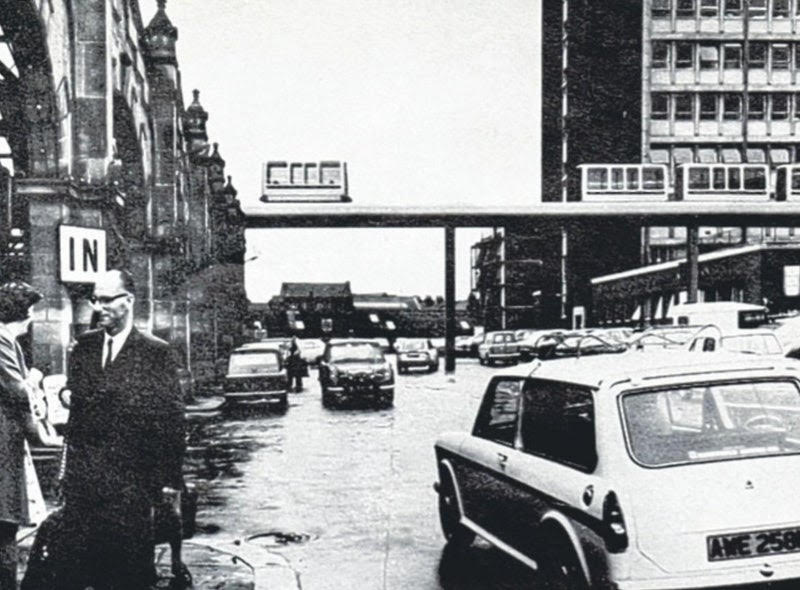 An old favourite from 1973, £10m monorail plan for Sheffield city centre. Driverless carriages would take passengers from the station, above Hole In The Road, up to Fargate before hooking past Town Hall and The Moor. Intended as the pilot for Govt scheme but quietly disappeared.