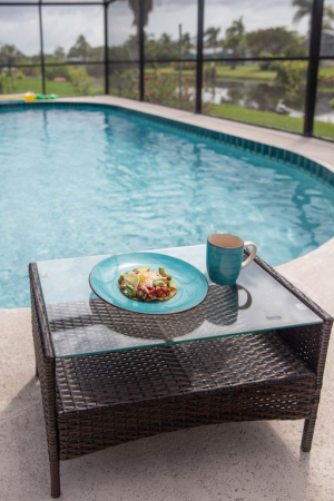 Enjoy your breakfast by the pool.   #vacation #airbnb  #travel  #vacationmode #bookdirect #Propertymanagement #travelgram #bhfyp #beachvibes #Beach #Florida #USA