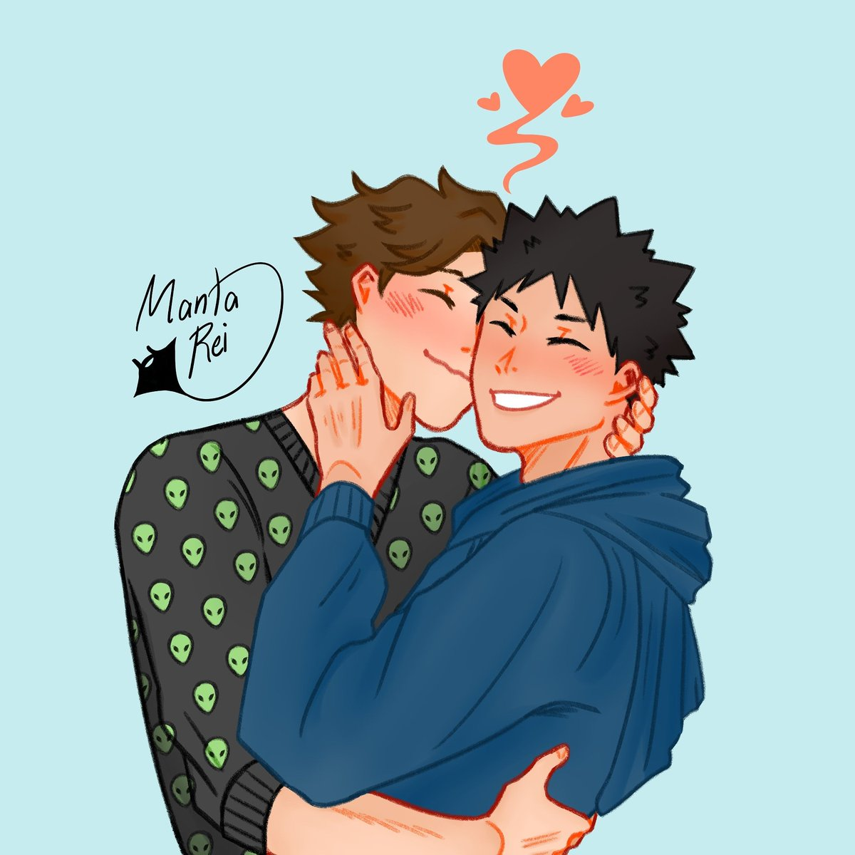 Ending the year with lots of love, ft. clumsy kisses by the great king himself    #haikyuu #haikyuufanart #iwaoi #ハイキュー