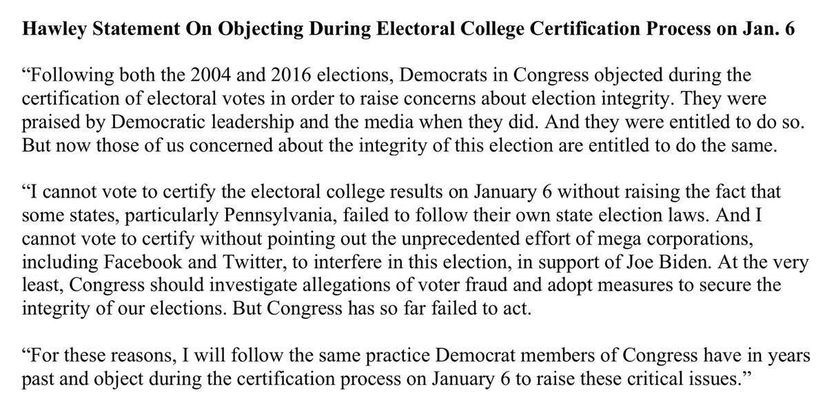 Millions of voters concerned about election integrity deserve to be heard. I will object on January 6 on their behalf