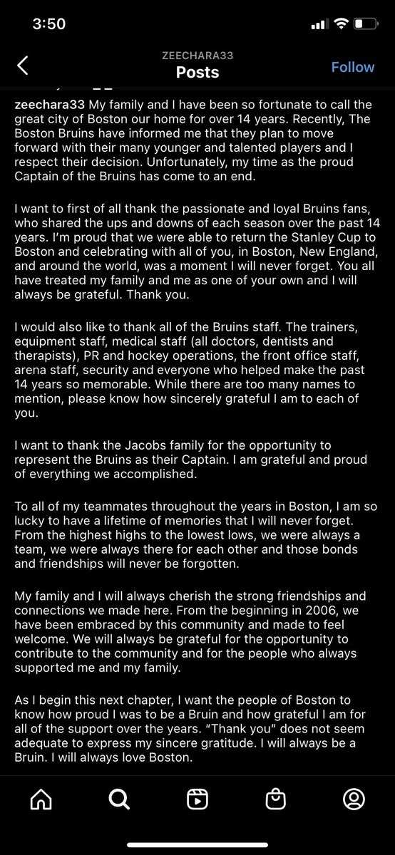 On Instagram, Zdeno Chara confirms he is leaving BOS https://t.co/sY5Yz8WIeB
