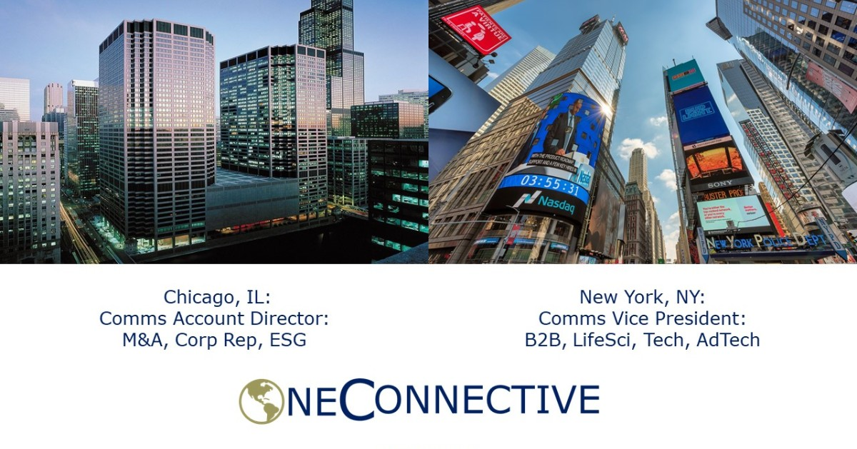Chicago, IL: Financial Comms/PR Account Director for leading Comms/Advisory Firm. M&A, IR, ESG exp. a +  NY, NY: Vice President Comms/PR/IR firm.  #timetoconnect OneConnective  #publicrelations #marketing #prjobs #marketingjobs #communications #pr #ir #ESG #socialmedia #pesomodel