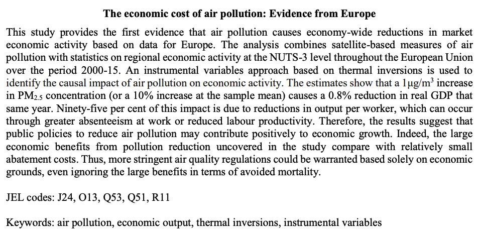 It's bad for the economy: a study used satellites to measure impact of air poll on economic activity. A 1μg/m3 increase (0.1 of mean) in PM2.5 (particular matter of diameter <2.5µm) caused 0.8% fall in real GDP via  labour productivity &  absenteeism. http://www.oecd.org/officialdocuments/publicdisplaydocumentpdf/?cote=ECO/WKP(2019)54&docLanguage=En