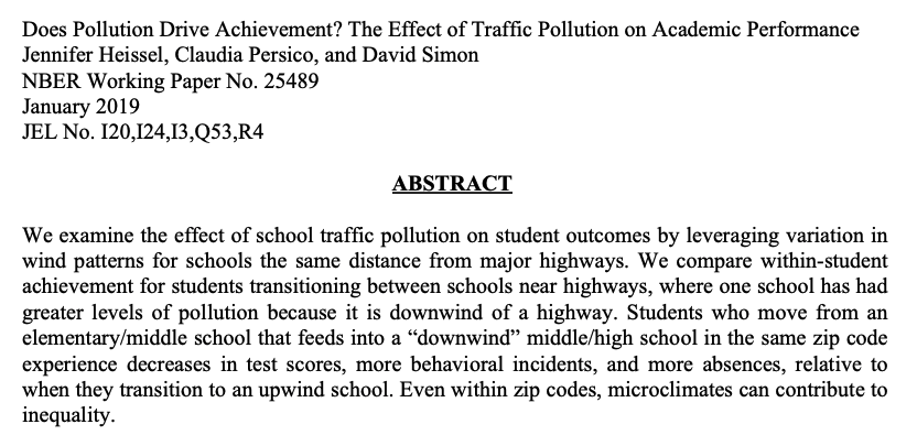 Bad behaviour: attending a school downwind of a highway (=> greater air poll.) associated w/ 0.04 of a std dev in decreased test scores, *4.1pp increase in behavioural incidents*, & a 0.5pp increase in rate of absences compared to attending upwind schools. https://www.nber.org/system/files/working_papers/w25489/w25489.pdf