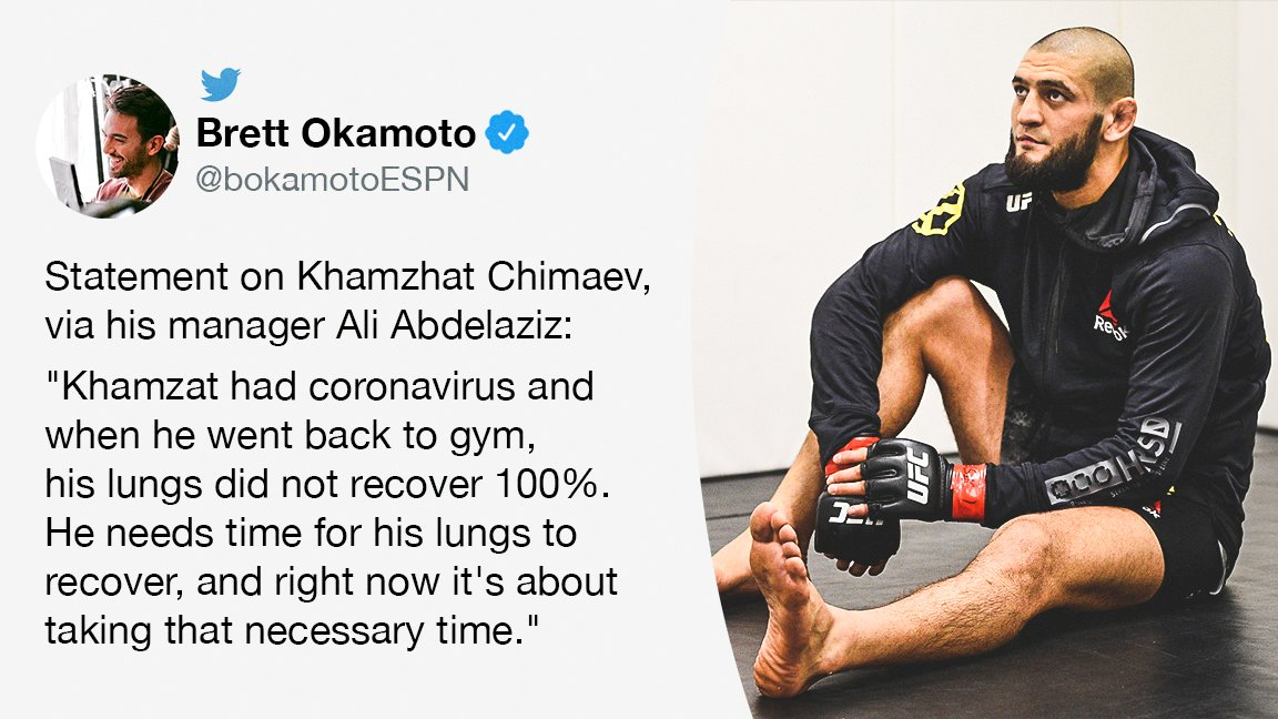 """Khamzat Chimaev's manager tells @bokamotoESPN that Chimaev """"needs time for his lungs to recover"""" after contracting coronavirus. https://t.co/uySffwRP3J"""