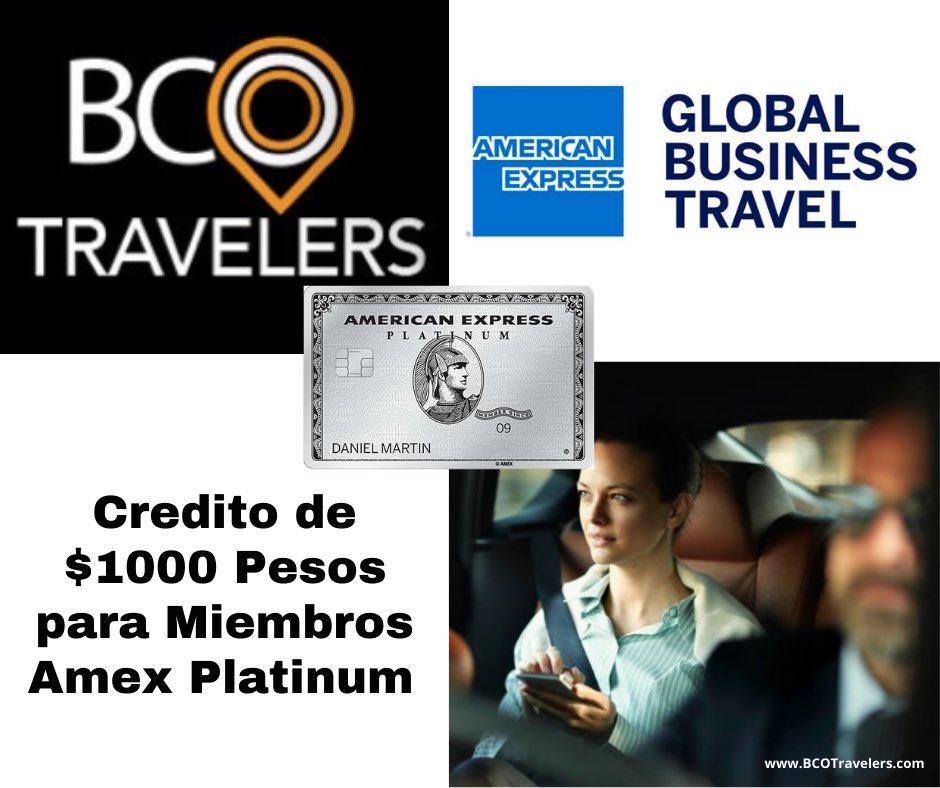 Recibe un crédito hasta por $1000 pesos en tus recorridos diarios. #bcotravelers #amex #amexbusiness