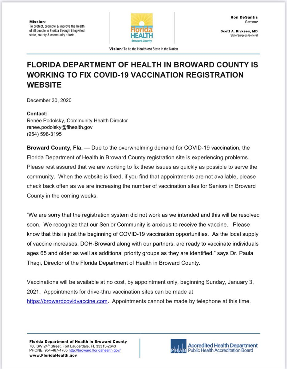 Florida Department of Health in Broward County is working to fix COVID-19 vaccination registration website.