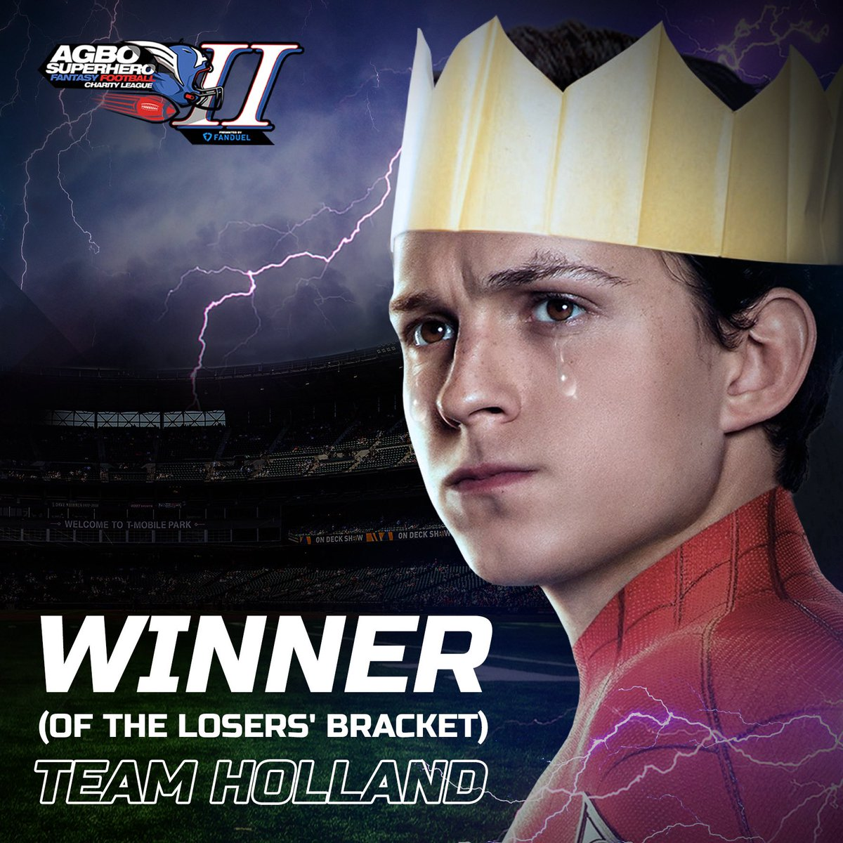It's Peter. Hey, I won.   Your friendly neighborhood Spider-Man swooped in as MVP of the Losers' Bracket on FanDuel this weekend🕷🤴🏻🏆 @TomHolland1996 @Tbrotherstrust   #AGBOSuperheroLeague presented by @FanDuel