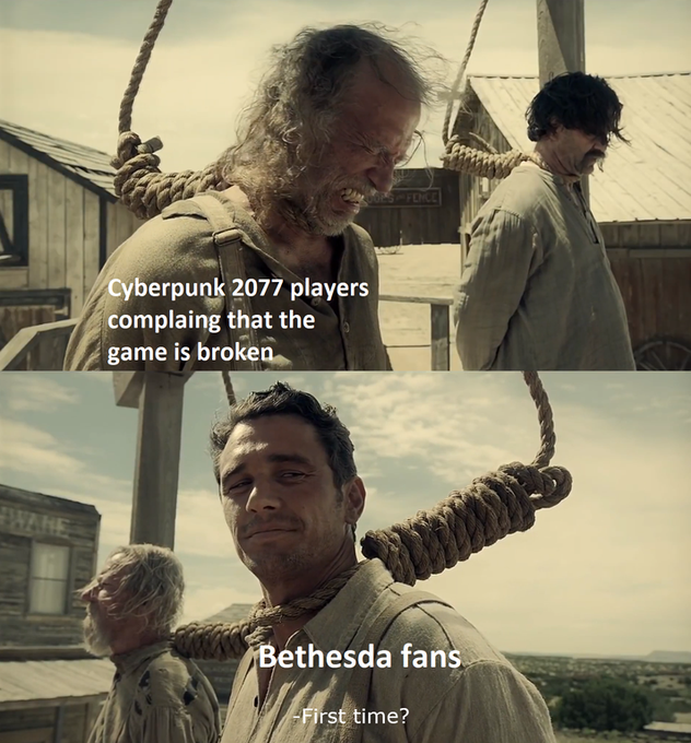 I think my favorite part about Cyberpunk 2077 is hearing about everyone now experiencing Fallout 76 😂