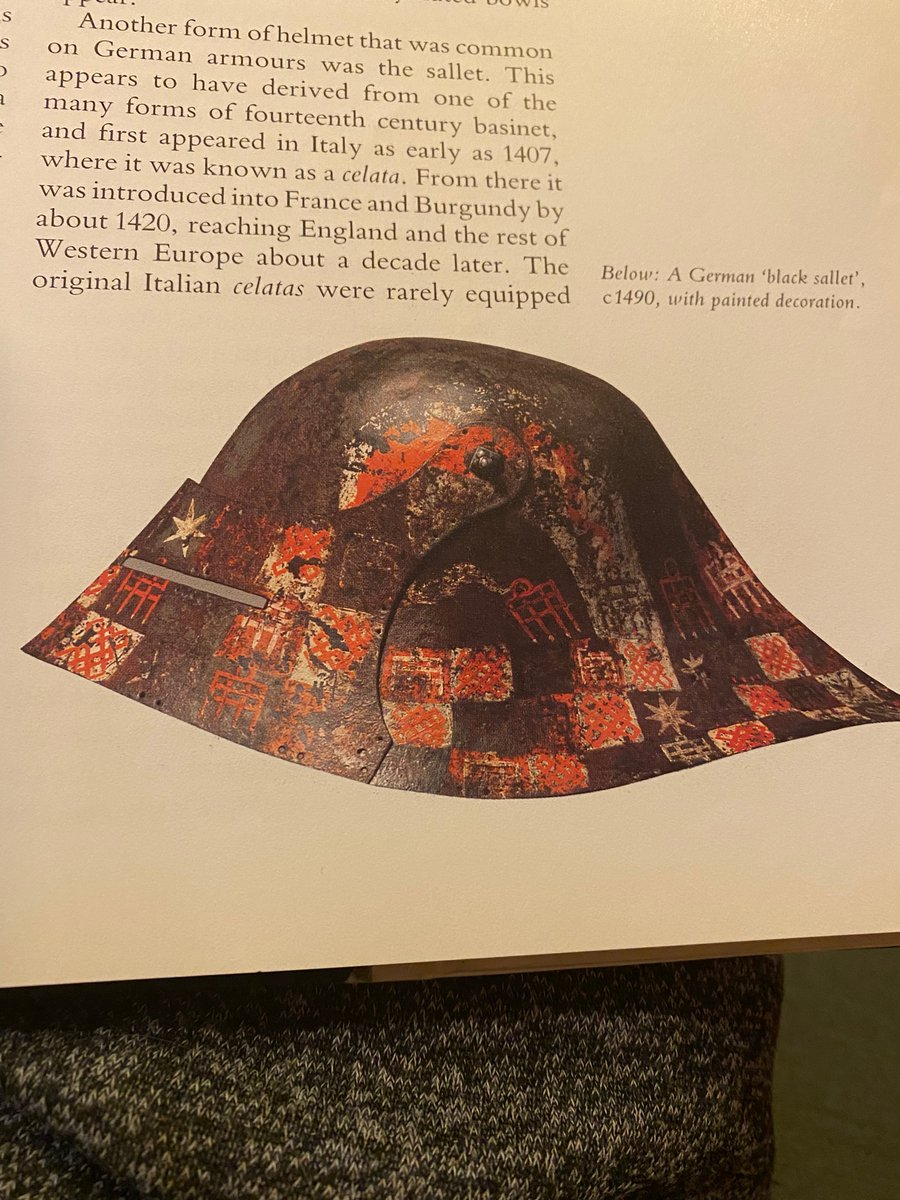 just had my mind blown from learning that a lot of medieval armour was colourfully painted, like this 15th century sallet, but very little has survived