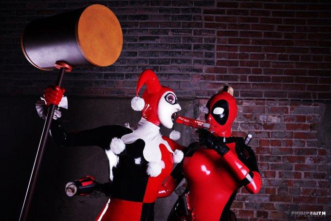 So a while back I did a photoshoot #LadyDeadpool VS #HarleyQuinn (yes both suits are mine) Just for fun