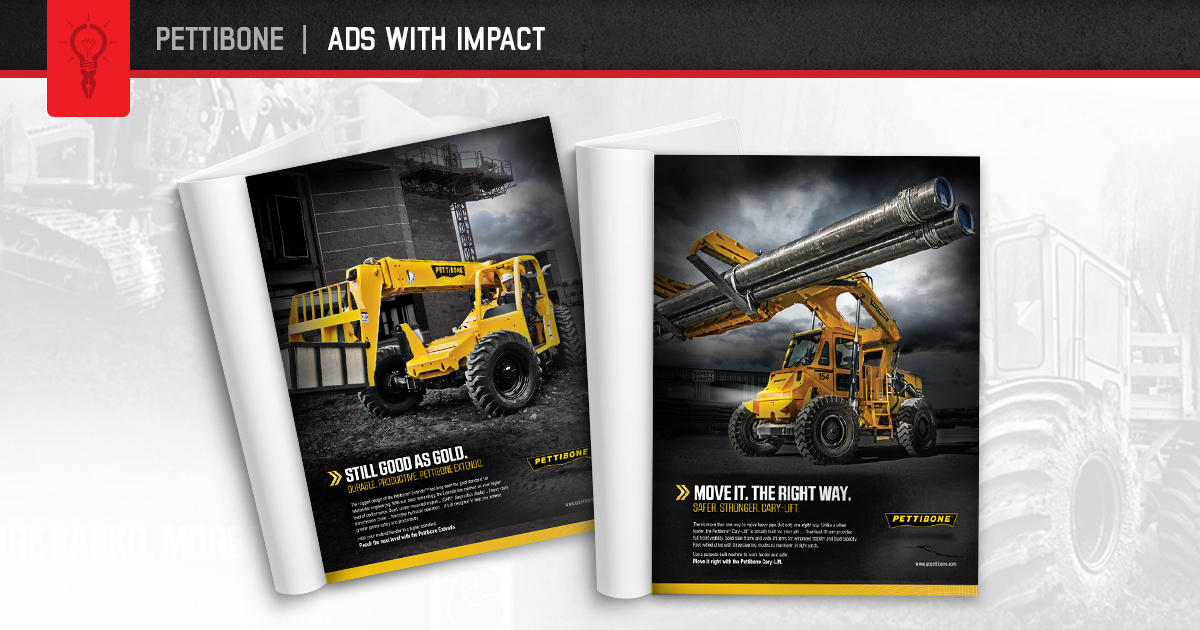Pettibone Heavy Equipment Group turned to us when they were looking for a tougher, edgier look for their print advertising. Click here to see how we did it.  #printadvertising #advertising #agency