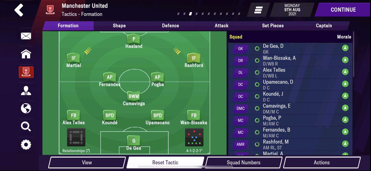 How the #mufc team is looking on FM21. Team is gelling well so far. 👀