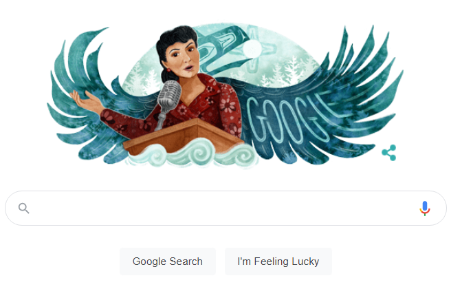A Tlingit artist in Sitka designed today's Google Doodle featuring Alaska Native civil rights leader Elizabeth Peratrovich: