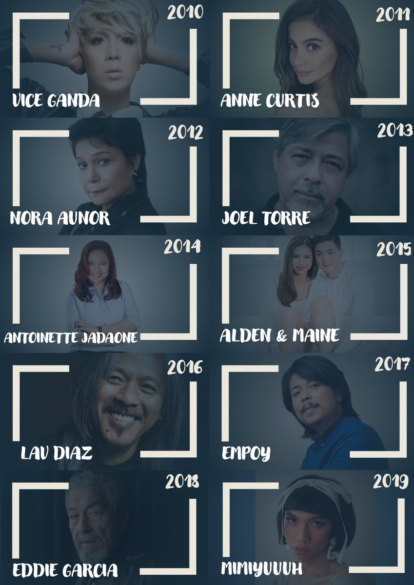 Here are 2010's Entertainer of the Year:  10: #ViceGanda @vicegandako  11: #AnneCurtis @annecurtissmith  12: #NoraAunor 13: #JoelTorre 14: #AntoinetteJadaone @tonetjadaone 15: #Aldub: @aldenrichards02 & @mainedcm 16: #LavDiaz 17: #Empoy 18: #EddieGarcia 19: #Mimiyuuuh @mimiyuuuh