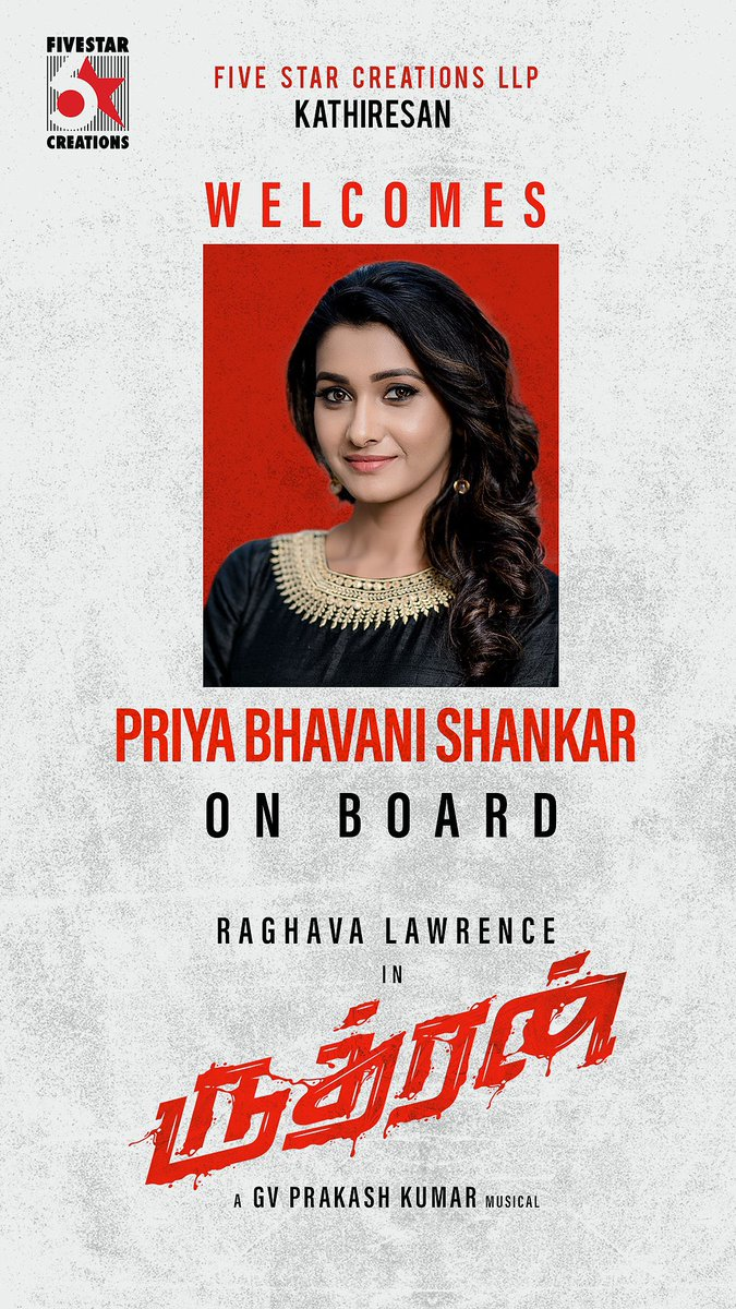 Happy Birthday @priya_Bshankar All the best for all your projects including Rudhran. Happy to welcome you on board!