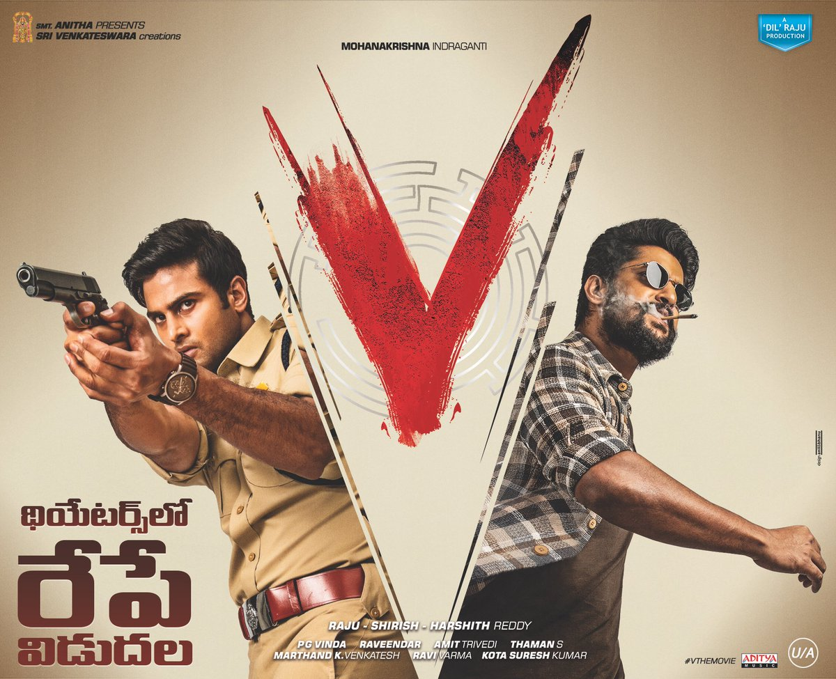 #VTheMovie in THEATRES from TOMORROW!   Get ready to watch it on BIG SCREENS🔥  @NameisNani @isudheerbabu @i_nivethathomas @aditiraohydari @mokris_1772