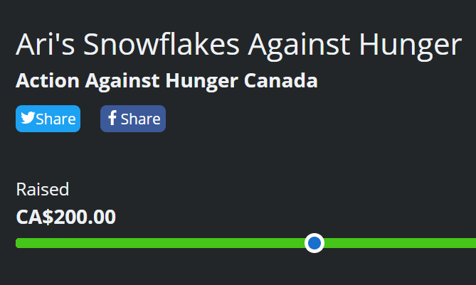 LOOK WHAT WE DID FOR #ActionAgainstHunger!  You guys are just amazing.  Thank you everyone who donated, watched, raided, retweeted--all of it.  I hope you all have the wonderful NYE that you deserve, and thank you again, from the bottom of my heart❄️🎄❤️  #charity