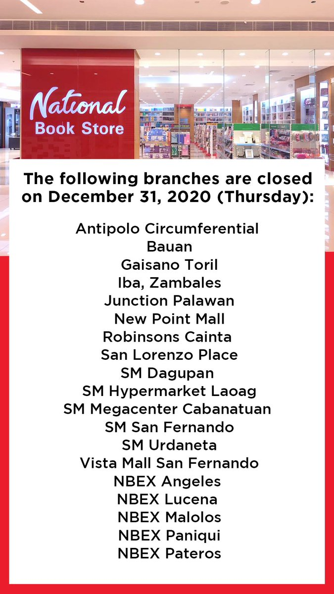 Here is the list of NBS branches that will be closed on December 31, 2020 and January 1, 2021. #NBSnews #NBSeveryday