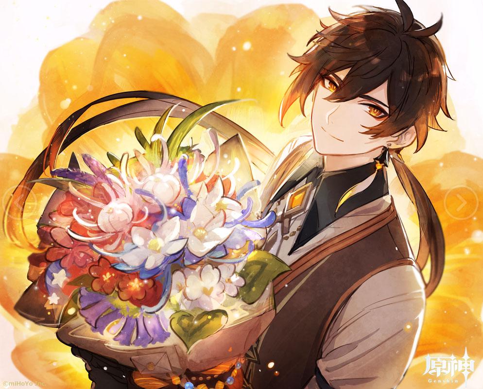 【鍾離生誕祭】 ——この花束は、お前が用意してくれたのか?俺好みの花ばかりだ、気に入った。 そうだ、俺と一緒に野生の琉璃百合を探しに行かないか。 璃月に伝わる歌を、お前にゆっくり教えてやろう。お前がそれを歌うのが聞きたいんだ。  #原神 #Genshin #鍾離先生 #原神_キャラ生誕祭