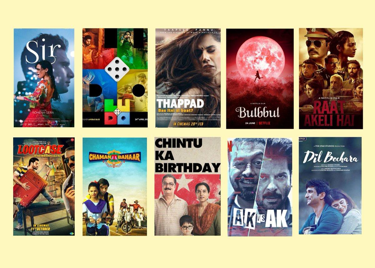 Here is my Top 10 Hindi Movies of 2020 :   #SirTheFilm  #Ludo #Thappad  #Bulbbul #RaatAkeliHai #Lootcase  #ChamanBahaar #ChintuKaBirthday #AKvsAK  #DilBechara   #GoodBye2020 #lastdayof2020 #HappyNewYear2021