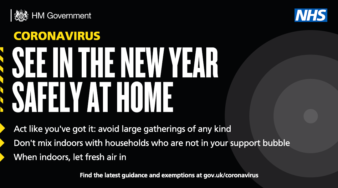 1 in 3 people who have COVID-19 have no symptoms. Act like you have it. Protect yourself and others. See in the New Year safely at home. Follow the rules in your area: gov.uk/find-coronavir…