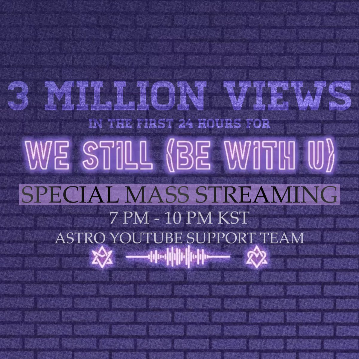 Few minutes left until #WeStill #BeWithU Release! Let's welcome 2021 with love while streaming the M/V together~ 💜 Happy New Year, #ASTRO and #AROHA 🎉 @offclASTRO #아스트로 #아로하
