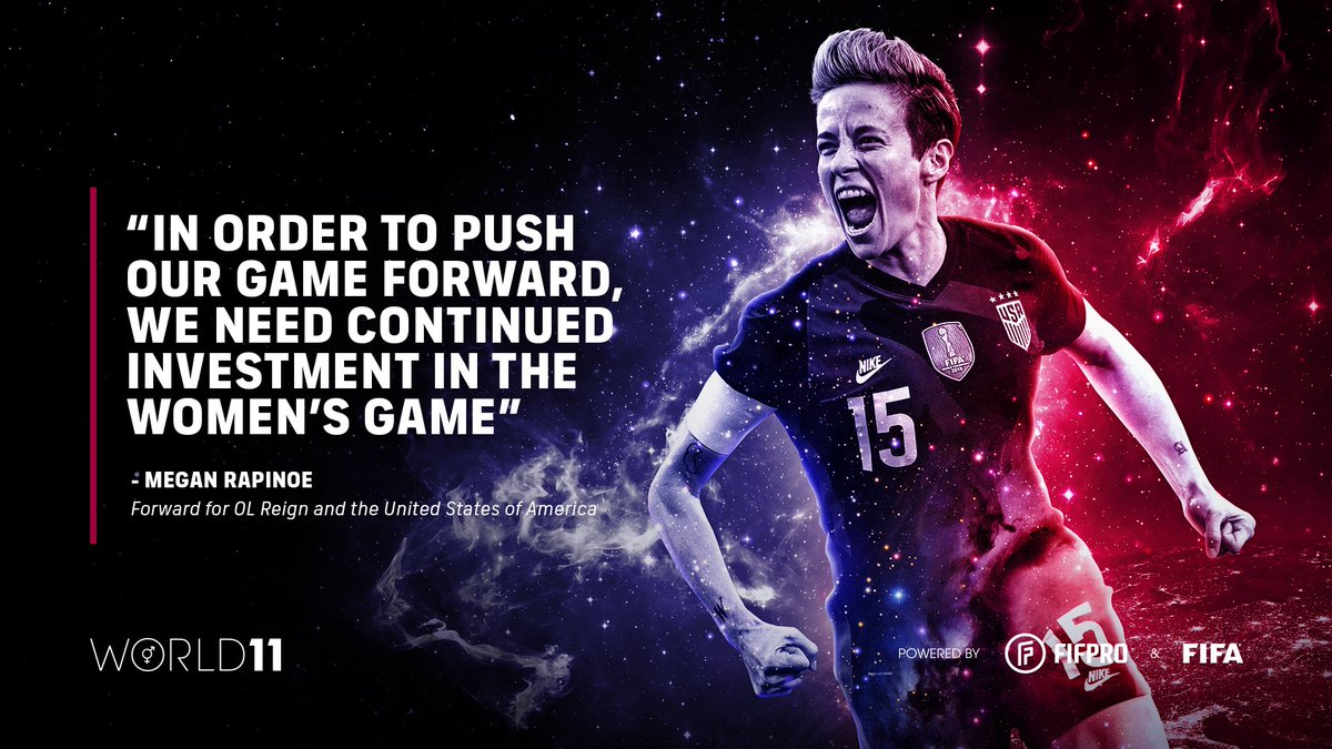 """""""In order to push our game forward, we need continued investment in the women's game"""" – @mPinoe on winning her second World 11 award 🏆👏 @OLReign @MLSPA  Find out what it means to win a #World11 award ⬇️"""