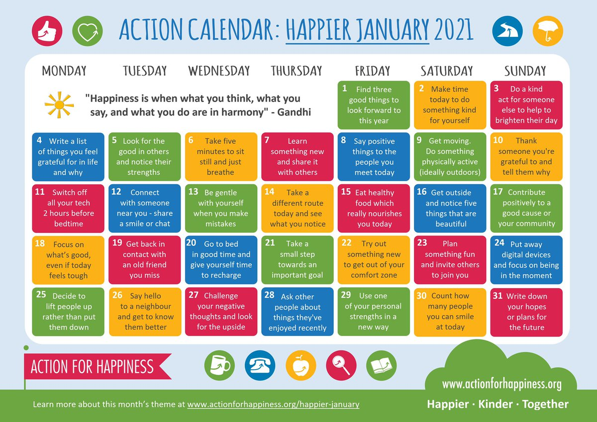 Although we're facing difficult times, we can still take positive steps and find reasons to be hopeful 🌈 Join us for #HappierJanuary with daily actions to boost happiness for yourself and others. Let's get 2021 off to a happier start 😀 actionforhappiness.org/january